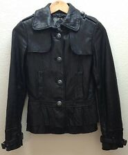 Guess Ladies Womens Black Soft Leather Jacket Tapered Waist Ruffle Vintage