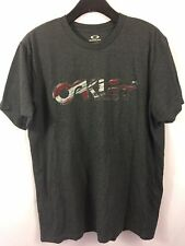 OAKLEY Graphic T-Shirt XL Gray CAMOUFLAGE Spell Out S/S Tennis