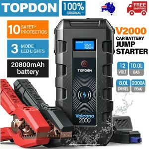 Topdon 20800mAh Car Jump Starter Pack Battery Booster Charger Power Bank 2000Amp