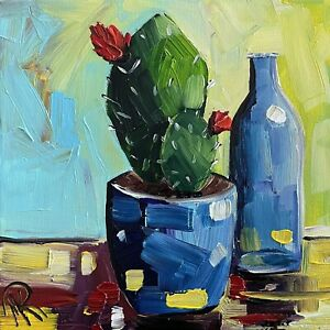 Marina Rehrmann Original Impressionism Cactus Plant Succulent Flower Glass Art