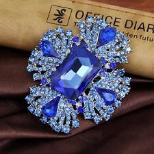 Charm Women Wedding Diamante Crystal Brooches Brooch Pin Blue Jewelry