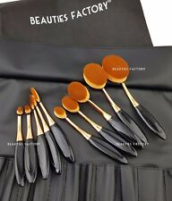 10 pcs Authentic Gold Beauty Toothbrush Shaped Oval Cream Puff Makeup Brush 3042