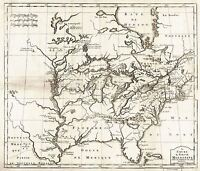 MAP ANTIQUE BERNARD 1737 MISSISSIPPI RIVER VALLEY REPLICA POSTER PRINT PAM0556