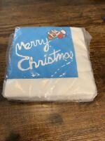 20 NEW VTG Merry Christmas SANTA CLAUS Paper NAPKINS ~ Santa Flying Plane RETRO