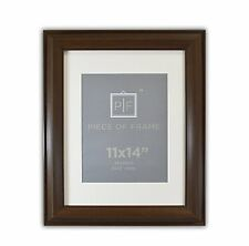 11x14 Brown Color Frame 2-inch wide with Ivory Mat for 8x10 Picture & Real Glass