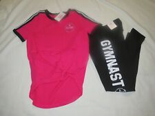 """Girls Justice """"Gymnast"""" Outfit Black/pink Size 8 NWT"""