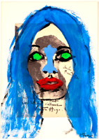 Brigitte Bardot Peinture Original sur Dessin de Bourdelle 1885 Art Neal Turner