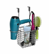 Grid Over The Door Styling Caddy Curling Iron Holder Bathroom Cabinet  Organizer