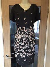"Laura Ashley Pink/ Grey Floral Shift Dress Size 14. Viscose. Bust- 42"" W-36"""