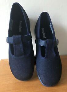 Cosyfeet Dark Denim Steffi Extra Roomy Shoes Size UK 8 T Bar Strap New