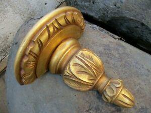 Vintage Lovely Wooden Corbel Wall Shelf Bracket Art Wood Carved Gilt Gilded Gold