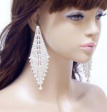 "#E121T 4.5"" LONG CLIP ON BIG HUGE Chandelier Crystal Earrings Bridal Silver Tone"