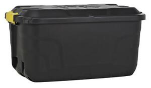 Heavy Duty 75 Litre Storage Trunk Wheels Container Home Garden With Lid - Black
