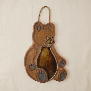 Vintage Victoria Littlejohn Ceramics Teddy Bear Wall Hanging Nursery Kids Room