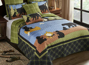 BLACK BEAR CAMPING 3pc Queen QUILT SET : CAMPFIRE LAKE CABIN LODGE CAMPER RV