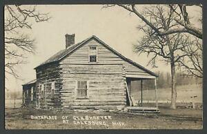 Galesburg MI: c.1910s RPPC Photo Postcard BIRTHPLACE OF GEN. SHAFTER Log Cabin