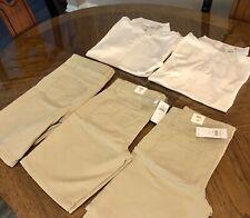 New listing Girls Justice lot of 5 size 10 White school uniform top khaki shorts Bnwt
