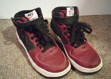 Nike air force 1 youth 4Y mid with hook/loop strap black maroon / red