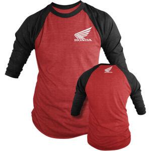 D'Cor Visuals Honda Raglan T-Shirt (Red / Black) Choose Size