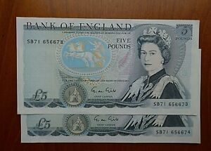 1988 Gill £5 note x 2 consecutive