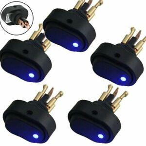 5 Pcs Blue LED Light DC12V 30Amp 3-Pin Car Boat Auto Rocker SPST Toggle Switch