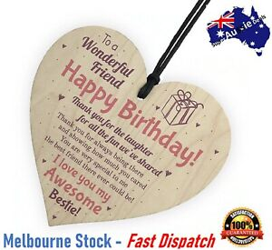 Best Friend happy birthday Wooden Hanging Heart Gift Sign friendship Bestie love
