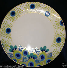 "STEPHANIE RYAN 2014 PAVO PEACOCK DINNER PLATE 10 1/2"" FEATHERS BLUE GREEN & GOLD"