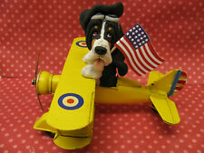 Handsculpted Black Basset Hound Dog American Fighter Pilot Figurine