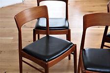 4x Teak Stuhl Dining Chairs KS Leder  Denmark 70er 60er