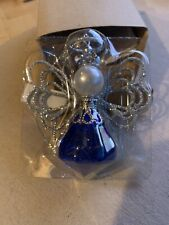 Avon September Angel Ornament New in Box Blue Silver super cute