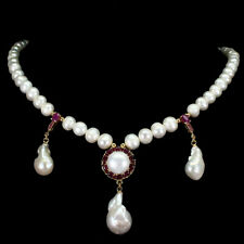 Baroque White Pearl 23x14mm Ruby 14K Gold Plate 925 Sterling Silver Necklace