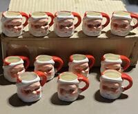 Vintage Set Of Christmas Mini Santa Mugs In Original Box- Japan
