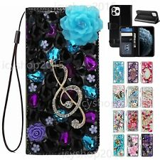 Women Girls Luxury Leather Flip Bling Wallet Stand Phone Cases & Straps For Moto