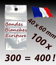 LOT 100 sachets zip 40x60 plastique zip 3 bandes blanches d'écriture 4x6 50µ