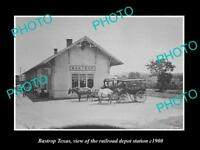 OLD LARGE HISTORIC PHOTO OF BASTROP TEXAS, VIEW OF THE RAILROAD DEPOT c1900