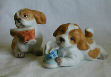 Pair Of Dogs With Shoes Figurine Homco