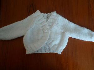 "baby girl white bolero cardigan 0-6 months 16"" chest"