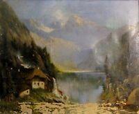 MESSNER, vermutl. Josef (1839-1886) Alpen-Ölgemälde: ALPENHOF AM SEE VOR GIPFELN