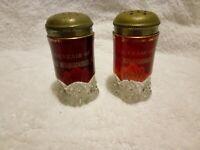 Antique ruby flash glass salt & pepper shakers souvenir Middle Musquodoboit, NS