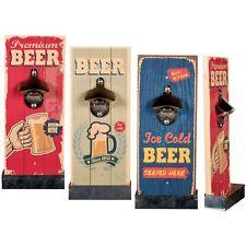Metall-Flaschenöffner auf Vintage Holzbrett mit Auffangebehälter für Kronkorken