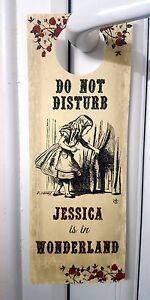 Alice in Wonderland Personalised 'Do Not Disturb' Door Sign/Hanger