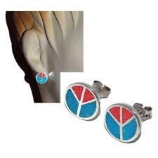 Boucles d'oreilles puces argent massif 925 peace & love bleu rouge bijou earring