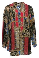 Joan Rivers Classics Collection Women's Top Sz 12 Patchwork Blouse Black A366232