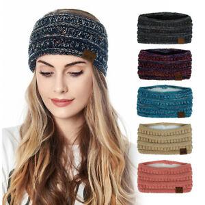 Women Warm Knit Fleece Lined Headband Warmer Ear Winter Wrap Head Band Hair