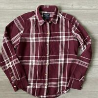 Abercrombie and Fitch Womens Long Sleeve Plaid Shirt Maroon White Size Small