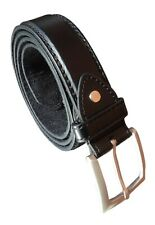"""Men's Black Leather Belt, 1.25"""" Wide, Silver Buckle, Choice Type of Leather"""