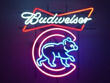 "New Budweiser Beer Chicago Cubs Champions Neon Light Sign 20""x16"""