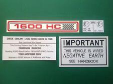 FORD ESCORT CORTINA CAPRI 1600 Pinto SOTTO COFANO VANO MOTORE Decalcomania Sticker Set