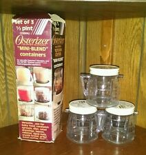 Set 3 Osterizer Mini Blend 1/2 Pint Containers Jars Plastic Perma Glass Oster