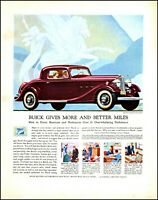 1933 Buick ten car automobile General motors 2 door vintage art print ad adL63